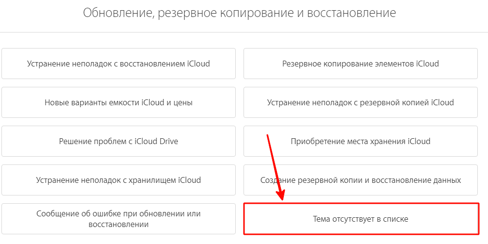 Как обратиться в ТП хранилища iCloud?